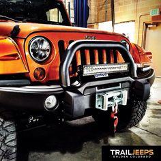 AEV Premium Front Bumper with an E series Rigid Industries - LED Light bar & Truck-Lite headlights. Built by Trail Jeeps Jeep Jeep, Jeep Truck, Jeep Trails, Jeep Parts, Cool Jeeps, Jeep Accessories, Led Light Bars, Jeep Stuff, Wrangler Jk