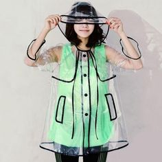 Stylish Button Transparent Clear Rain Coat Raincoat Rainwear For Women Black #RaincoatsForWomenShoes