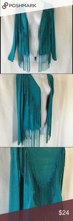 Gorgeous Tea Party Fringe Kimono Too Cool is what this green fringe kimono is by Tea Party! Stretchy material, NWT. Thanks! Tea Party Tops