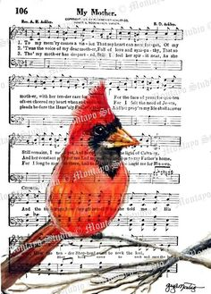MY MOTHER RED CardinaL Art Print  Religious by gaylemontayostudio, $9.95