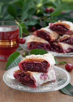 Serbian Sour Cherry Phyllo Pie _ Note: You can use this method to make phyllo pie with various fruits, although, personally, I find sour cherry pie the best. You can also use frozen sour cherries. Pie Recipes, Vegan Recipes, Dessert Recipes, Cooking Recipes, Vol Au Vent, Vegan Sweets, Vegan Desserts, Kolaci I Torte, Croatian Recipes