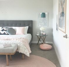 I like the clean cut of this room, the only thing that would improve it is if the bedside tables legs matched the tapered woodenegs of the bed, to bring the whole room together. However this does give a more modern vibe which looks amazing -Sim
