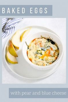 This easy baked eggs recipe mixes sweet and savory with diced pears, chopped herbs, and melty blue cheese. Simply crack eggs into ramekins, top with ingredients, and bake until firm and melted. Perfect for a weekend brunch! Healthy Breakfast Recipes, Easy Healthy Recipes, Brunch Recipes, Whole Food Recipes, Breakfast Ideas, Mother's Day Brunch Menu, Brunch Dishes, Kitchen Recipes, Cooking Recipes