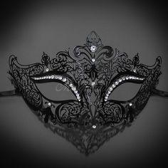 Womens Ravishing Butterfly Laser-Cut Metal Venetian Masquerade Mask White