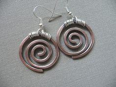 Copper Earrings Hand Made Jewelry Copper Dangle by fancyyoudesigns