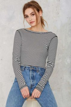 Nasty Gal Scouted Open Back Bodysuit - Stripes - Bodysuits | Tops