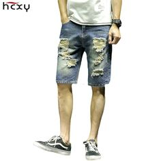 HCXY brand 2017 New arrival Men's Denim Shorts Hole Ripped Men Jean Shorts Male cotton Whisker Short masculino plus size 5XL #Affiliate