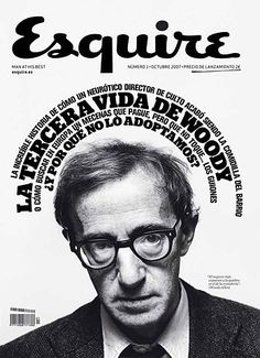 Esquire cover featuring Woody Allen; I love the way the type wraps around his head; black and white really makes this work, too