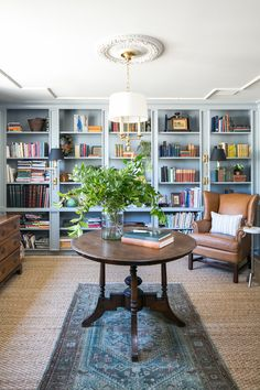 Light blue + Robins Egg Blue Bookcases in the study + round table in the center of the room + layered rugs + antique rug layered over a natural fiber rug + reading chair in the corner + custom bookcases Cozy Living Rooms, Living Room Decor, Dining Room, Family Room, Home And Family, Monday Inspiration, Bookshelves Built In, Bookcases, Room Paint