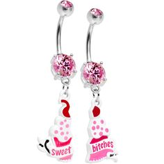 Pink Gem Cupcake Sweet Bitches Best Friends Belly Ring Set | Body Candy Body Jewelry Roni you need to get your belly button pierced so we can get these!!!