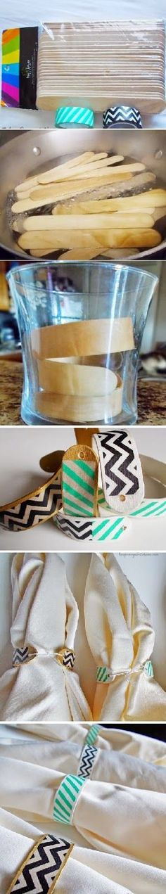 diy crafts: Washi Tape Napkin Rings