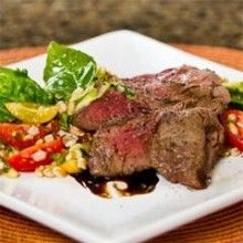 Grilled Filet Mignon with Farro and Fresh Vegetable Salad