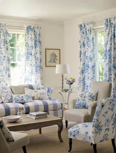Love the neutral colors on permanent items mixed with splashes of blue that can easliy be changed out per seasons