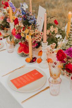 Bright Wedding Flowers, Flower Crown Wedding, Flower Bouquet Wedding, Floral Wedding, Fruit Wedding, Orange Wedding, Summer Wedding, Wedding Table Decorations, Flower Decorations
