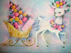 Pastel Glitter Vintage Christmas Card... Reindeer...Sleigh...Christmas Tree...$4.99