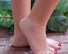 Ankle Bracelet, Simple Chain Anklet, Shiny Bar Stations with Double Link Chain Trendy Jewelry, Simple Jewelry, Dainty Jewelry, Gold Filled Jewelry, Cute Jewelry, Jewelry Sets, Fashion Jewelry, Gold Anklet, Anklets