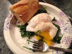Peaches eggs with spinach my 300 calorie meal