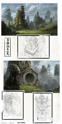 Asian Region Concepts. Asian fantasy art, digital illustrations and character studies. Amazing matte paintings
