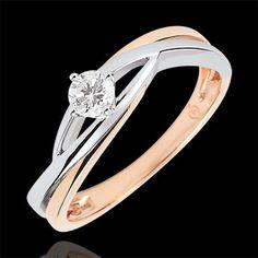 Bague solitaire Nid Précieux - Dova - diamant 0.15 carat - or blanc et or rose 18 carats : bijoux Edenly