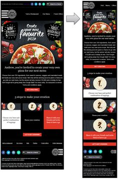 Responsive email design from Pizza Express