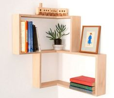Corner shelf: display cabinet book vintage mid-century by Senkki Corner Shelf Unit, Corner Bookshelves, Corner Wall Shelves, Bookshelf Design, Wall Shelves Design, Display Shelves, Book Shelves, Floating Corner Shelves, Bookshelf Styling
