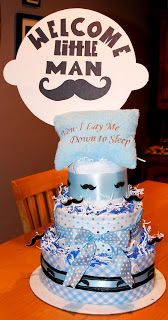 Diaper cake for Moustache themed Baby Shower