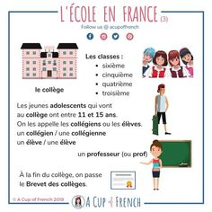 It's soon the start of a new school year in France. Therefore, I 'd like to talk about the French school system. French Learning Books, French Teaching Resources, Teaching French, Teaching Spanish, Spanish Activities, Learning Italian, Teaching Reading, French Language Lessons, French Language Learning