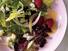 Pickled Onion, Blue Cheese, and Berry Salad | We cooked up a tasty spring menu for eight happy people—and included the tips and game plan to pull it all together in 60 minutes.