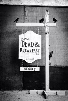 Dead & Breakfast Halloween Hanging Sign by GluteusMaximus on Etsy, $70.00