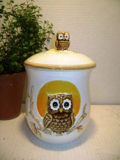 Vintage Owl Canister w/ lid Woodland Earth Tones by junquegypsy