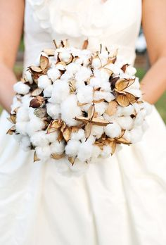 A Rustic-Chic Cotton Bouquet. This bouquet is made entirely of cotton and is perfect for an autumnal country wedding or snowy nuptials.
