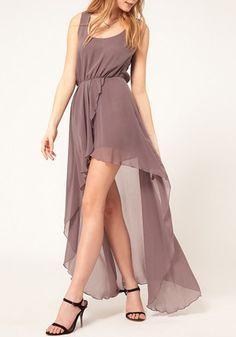 Light Purple Plain Irregular Swallowtail Sleeveless Chiffon Dress