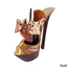@Overstock - Display your makeup brushes on this fun, pinup-inspired platform shoe. It's a glamorous accessory for a dresser or a vanity, or to hold pens and pencils for your office.   http://www.overstock.com/Health-Beauty/Pin-Up-Cheetah-Platform-Shoe-Makeup-Brush-Holder/7538980/product.html?CID=214117 $20.99