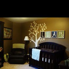 Boys bedroom- same color walls in twins room. Dark furniture, and LIAM :)