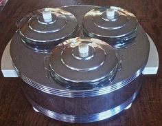 Art Deco Chrome and White Bakelite Electric Snack Server - Chase - Reichenbach