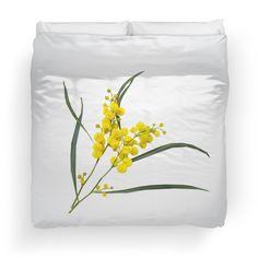 'Australian Golden Wattle Flower' Duvet Cover by houseofenigma College Dorm Bedding, Duvet Insert, Duvet Covers, Pillows, Flower, Home Decor, Decoration Home, Room Decor, Throw Pillow
