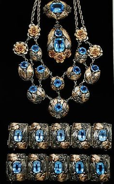 RARE WILLIAM HOBE DESIGNED PARURE 1933-1957 STERLING AND 14KT GOLD 1/20