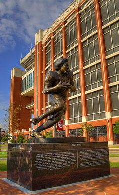 football stadium and Billy Sims statute, University of Oklahoma, Norman, OK