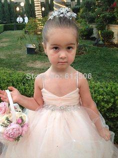 Cherubic Soft Tulle Ball Gown Flower Girls' Dresses 2014 Spaghetti Shiny Beads Sash Bow Floor Length Girls Dresses-in Flower Girl Dresses fr...