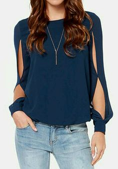 Casual chiffon tops Women Blouse Sexy Blusas Ladies Solid Elegant Blouses hollow out Femininas Long Sleeve tank Tops plus size Casual Outfits, Cute Outfits, Office Outfits, Chiffon Shirt, Chiffon Tops, Mode Style, Cute Tops, Pulls, Refashion
