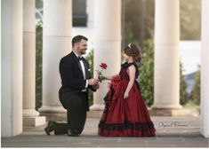 Red Anemone Gown by Anna Triant Couture Father Daughter Poses, Daddy Daughter Pictures, Baby Girl Pictures, Little Girl Gowns, Gowns For Girls, Girls Dresses, Cute Baby Couple, Red Anemone, Fall Family Portraits
