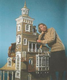 Tove Jansson and the Moomin house model.