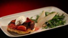 Kerrie and Craig's Roasted Vegetable Tarte Tatin with Goat's Curd and Rocket from season 4 of My Kitchen Rules: http://gustotv.com/recipes/salads/roasted-vegetable-tarte-tatin-goats-curd-rocket-pear-salad/