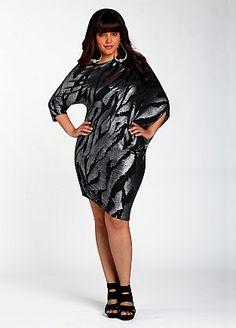 Ashley Stewart: Metallic Foil Print Dress