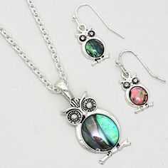 Abalone Shell Owl Pendent Necklace & Earrings