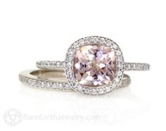 Platinum Morganite Bridal Set Diamond Halo Morganite by RareEarth