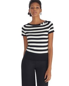 It makes me think about Venice! @ White House | Black Market - Short Sleeve Stripe Bateau Pullover #whbm