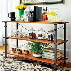 Wanna order 2 of these, one as a media stand and one as a bar, just need to grey wash the wood to make it work in my living room...