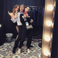 Stella, Paul and Mary McCartney ham it up in Paul's dressing room prior to one of his concerts