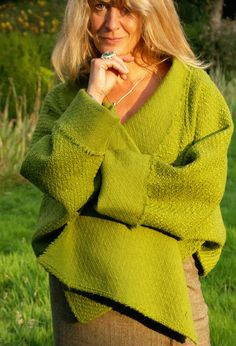 Tokyo Jacket in green textured wool. This site has lots lots of flattering Boho fashion for older women.